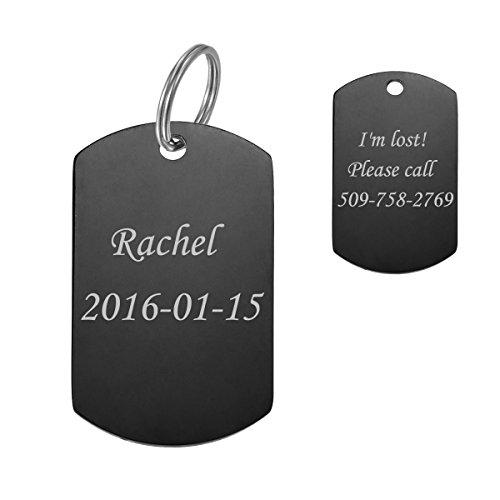 Stainless Steel Pet ID Tags Dog Tags Personalized & Engraved Custom Identification Tag Engraved Front & Back Dog Collar Tag Arc Rectangle Shape