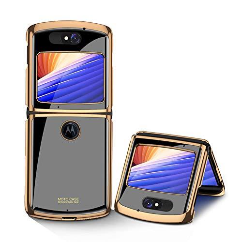 MingMing Hülle für Motorola Razr 5G Hardcase Stoßfest Schutzhülle PC + 9H Gehärtete Glasabdeckung, Superdünne handyhülle für Motorola Razr 5G, Geheimnisvolles Schwarz
