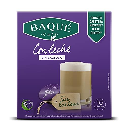 BAQUÉ CAFÉ - Con Leche Sin Lactosa Cápsulas Compatibles Con Dolce Gusto (pack De 4*10 = 40 Cápsulas), Café Con Leche, 400 Gramo