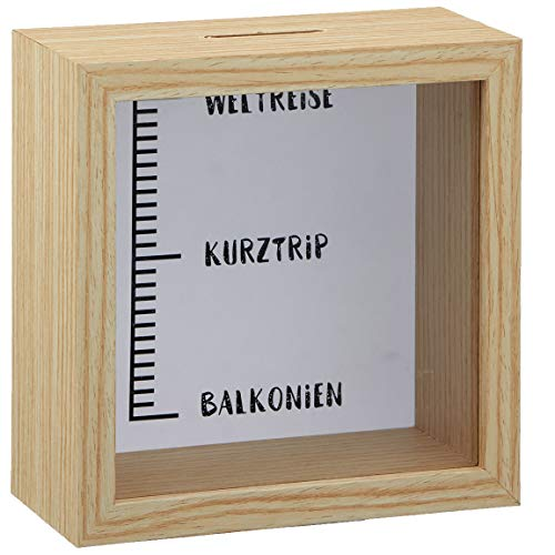 Bada Bing Sparbox Skala Von Balkonien Zur Weltreise Aus Holz mit Glasscheibe Spardose Bilderrahmen Ca. 14,5 x 14,5 cm Geldgeschenk Hochwertige Verarbeitung 06