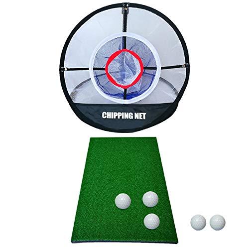 Golf Elite Chipping Net Bundle Set, 51cm Pop Up Golf Chipping Netz - Pitching Golf Matte - Golf Ball, Faltbar Adult Children Training Network mit Driving Mat Golf Practice Matte Tragbare Golf Zubehör