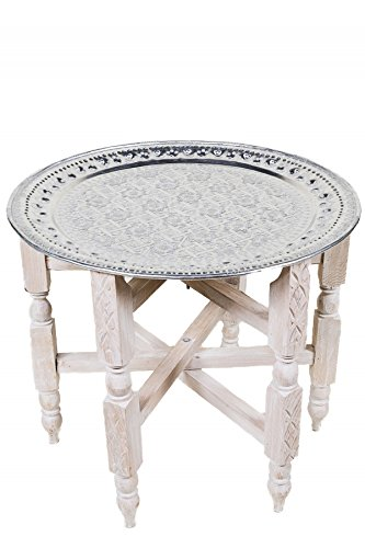Marrakesch Orient Mediterran Interior  Marokkanischer Klapptisch Couchtisch Tisch Gohar - Silberfarbig 80cm