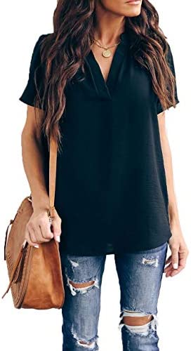 Allimy Women Summer Casual V Neck Chiffon Blouses Short Sleeve Loose Tunic Tops Plus Size Large product image