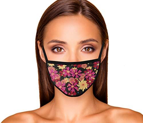 Premium Maske aus 100% Baumwolle mit Blumenmuster für Gesicht Damen, Frauen aus Stoff - Design mit Blumen (Rote Blume Kamille)