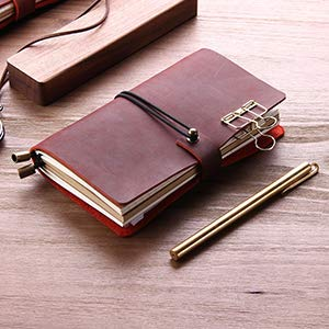 ASDAHSFGMN Leather Writing Diary Notebook, Pocket Vintage Leather Travel Diary Diary, Handmade Traveler