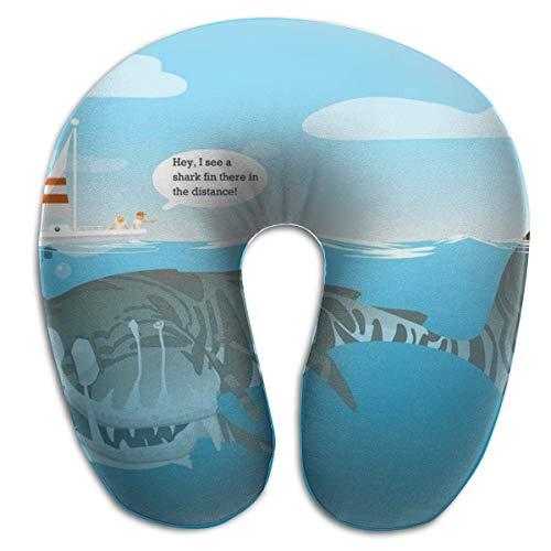 Almohada en Forma de U, Cuello, tiburón Fresco, ilustración artística, Viaje, Almohada Multifuncional, Coche, avión