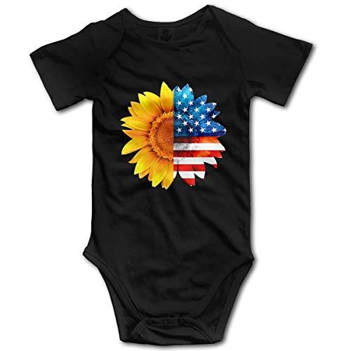 Sunflower American Flag Toddler Baby Boy Body de Manga Corta Chaleco Ropa Traje de Mameluco