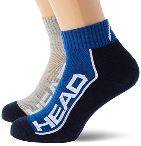 Head Performance Quarter Socks (2 Pack) Calcetines de tenis, Melange Azul/Gris, 39/42 (Pack de 2) Unisex adulto