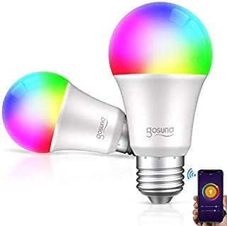 Gosund Smart Light Bulb LED WiFi RGB Color Changing Bulbs That Works with Alexa Google Home, E26 A19 8W Multicolor Lights Bulb, No Hub Required, 2 Pack