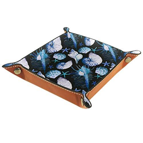 Chuangxin Corales, conchas y estrellas de mar plana de microfibra de cuero cubo de almacenamiento de suministros de oficina papelería escritorio artículos de artículos de artículos de artículos de tocador caja de 20.5x20.5cm, Multi01, 20.5x20.5cm