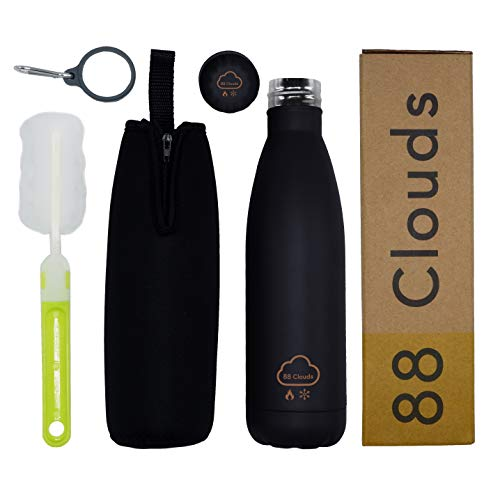88 Clouds Bottiglia Termica in Acciaio Inossidabile | Borraccia in Acciaio Inox | Acciaio Inossidabile Senza BPA | Isolamento Doppio Strato Double Wall | Portatile | Sport | (Matt Black, 500ML)