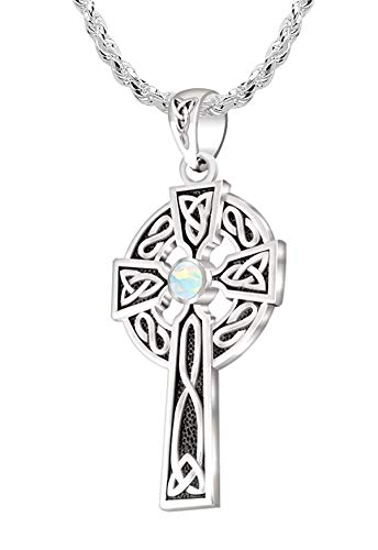 US Jewels Men's 925 Sterling Silver Synthetic Opal October Birthstone 1.5in Irish Celtic Knot Cross Pendant 2.2mm Rope Necklace, 24in