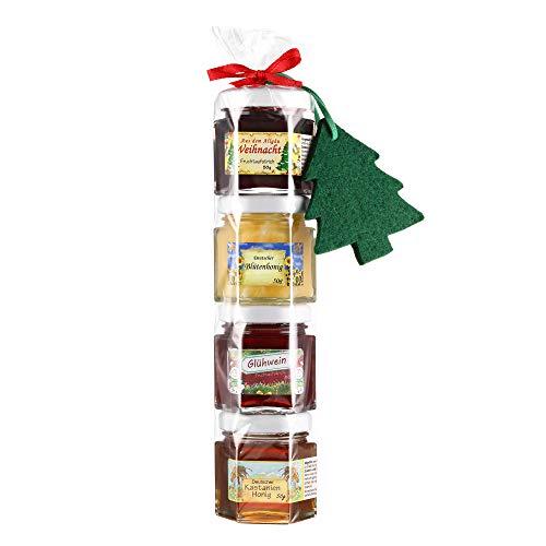 Puntzelhof Allgäuer Delikatessen Geschenkset Weihnachten - Glühweinfruchtaufstrich, Weihnachtsfruchtaufstrich und 2x Deutscher Honig in der Geschenkrolle mit Weihnachtsbaum