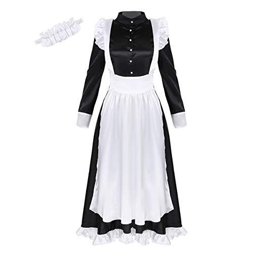 Agoky Disfraz de Criada para Mujeres Chicas Cosplay Maid 3PCS Conjunto Lencería Vestido Largo Maxi con Delantal Largo y Casco Traje Halloween