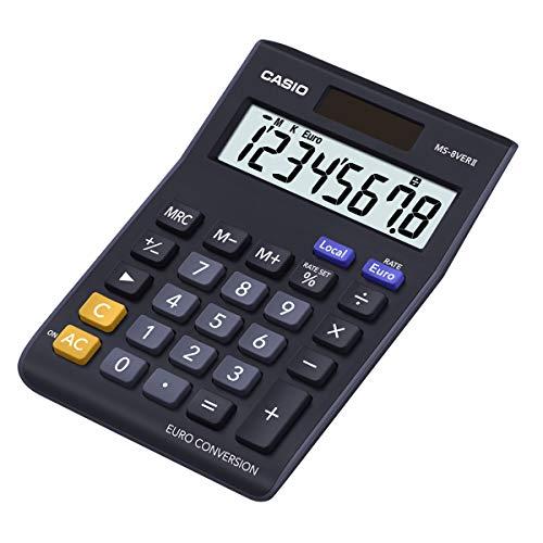 CASIO Tischrechner MS-8VERII, 8-stellig, Währungsumrechnung, Gummifüße, Schnellkorrekturtaste, Solar-/Batteriebetrieb