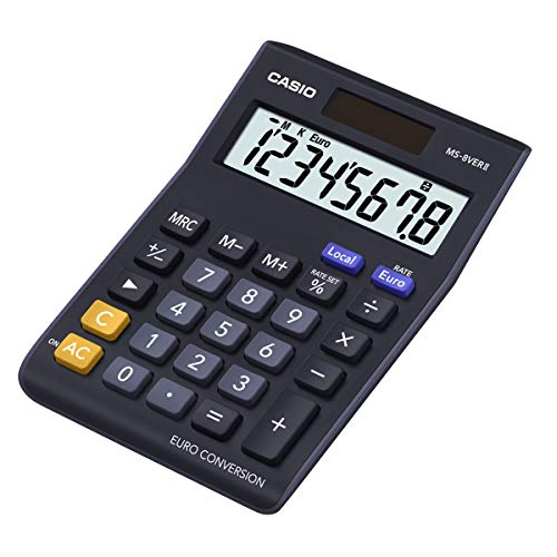 CASIO MS-8VERII calcolatrice da tavolo - Display a 8 cifre, euroconvertitore