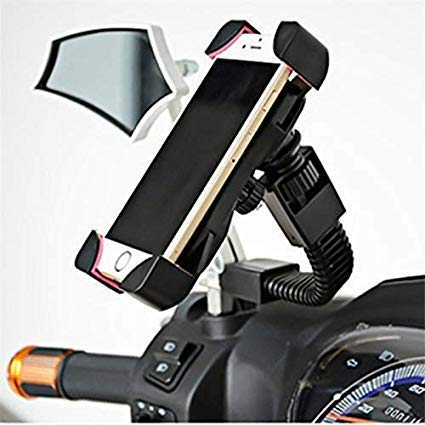 """Kimloo Activa Rearview Mirror Mount Mobile Holder,Multifunctional to Show Navigation,GPS with 360 Degree Rotation!Anti-Vibration/Shake Pads   Mobiles Size Upto 6.5"""" Inch - Black"""
