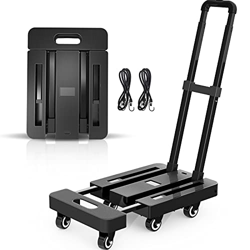SPACEKEEPER Folding Hand Truck, 500 LB Heavy Duty Luggage Cart, Utility Dolly Platform Cart with 6 Wheels & 2 Elastic Ropes for Luggage, Travel, Moving, Shopping, Office Use, Black