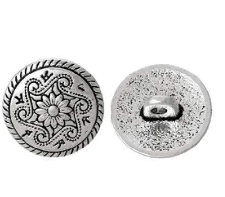 Handarbeit-Lieblingsladen Metallknöpfe Ösenknöpfe 15 Stück mit Blumen-Muster antiksilber Ø ca. 15mm