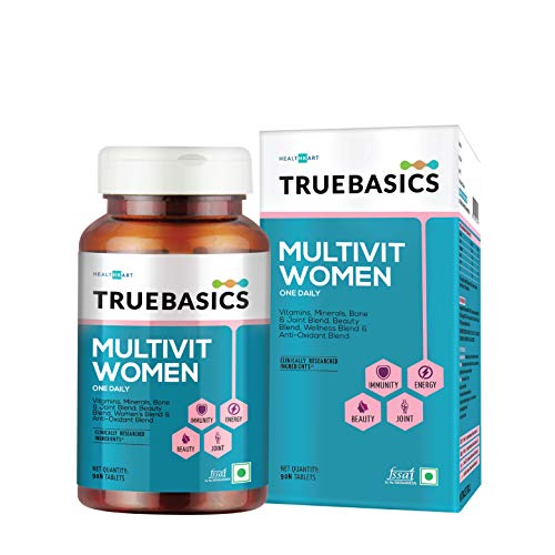 TrueBasics Multivit Women One Daily, Multivitamin for Women , Multivitamins with Zinc , Vitamin C, Vitamin B12, Vitamin D, and Multiminerals, Anti-Oxidants, with Immunity & Joint Blend, Clinically Researched Ingredients, Multivitamin Capsules - 90