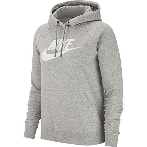 Nike Damen Sportswear Essential Pullover Hoodie, Dark Grey Heather/White, XS