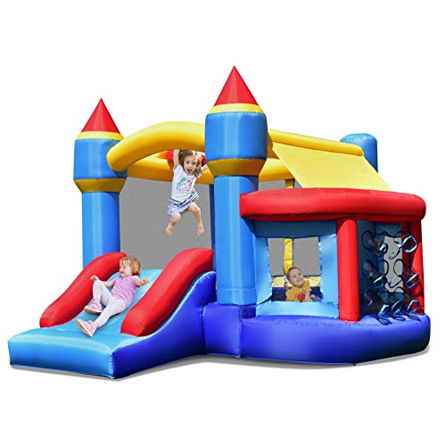 Costzon Inflatable Bounce House, Kids Slide Jumping Bouncer Castle w/Basketball Rim, Ball Shooting, Including Oxford Carrying Bag, Repairing Kit, Stakes, Without Blower (with Ocean Balls)