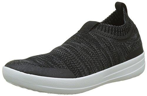 FitFlop Women's Sneakers Walking Shoe, Black/Soft Grey, 8.5