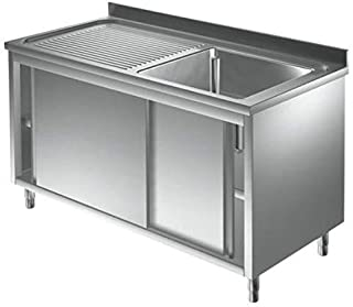 Spülschrank Edelstahl 1 Becken rechts 1400 x 700 x 850 mm mit Schiebetüren Gastro Spüle