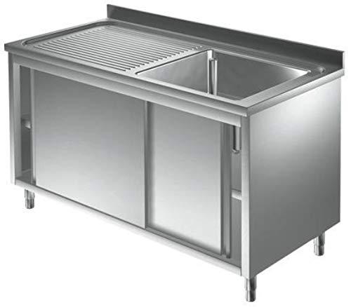 Spülschrank Edelstahl 1 Becken rechts 1000 x 700 x 850 mm mit Schiebetüren Gastro Spüle