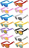 Wholesale Bulk Matte Colored Mirrored Lens Sunglasses 14 pairs OWL.