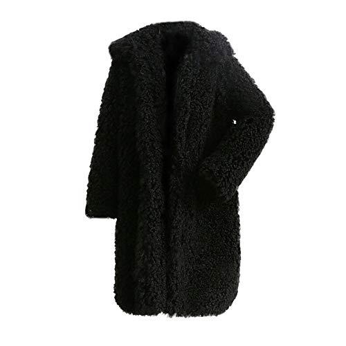 Riou Kapuzenjacke Damen Mäntel,Winter Warmer Hoodie Pullover lang Strickjacke Winterjacke Frauen Dicker Mantel Fester Mantel Pelz Jacken Wollmantel Mantel (2XL, Schwarz)