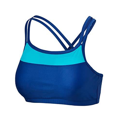 UV SKINZ UPF 50+ Women's Crisscross Swim Bra - Navy Blue/Teal - M