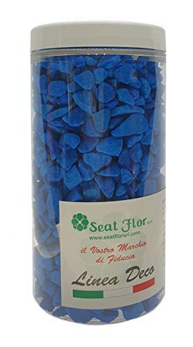 Deco Made en Italy Pierre colorée, cailloux colorés 9/13 mm, conditionnée en pot de 550 ml – 750 gr Bleu