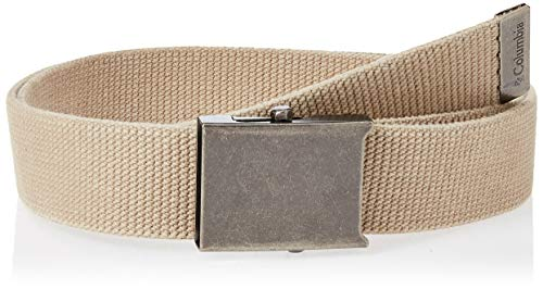 Columbia Men's Military Web Belt-Adjustable One Size Cotton Strap and Metal Plaque Buckle, Beige
