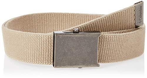 Columbia Men's Military Web Belt-Adjustable One Size Cotton Strap and Metal Plaque Buckle, Beige