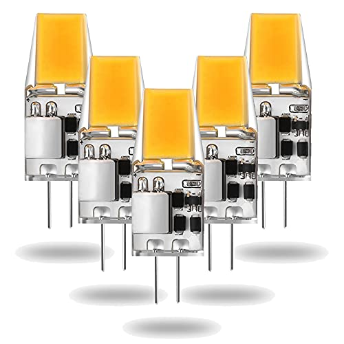 Bombilla LED G4 Sin Parpadeo, 5PCS 2700K Bombilla de luz Blanca Cálida, a Prueba de Polvo 12V, 45W Halógena de Repuesto (Lámpara de CA / CC a Prueba de Golpes de Segunda Generación) para Paisaje RV