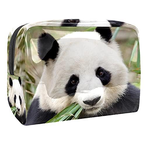 Trousse de Maquillage pour Femmes, Trousse de Toilette de Voyage de Rangement imperméable Panda Mignon Manger Bambou pour Les Voyages, Organisateur de cosmétiques