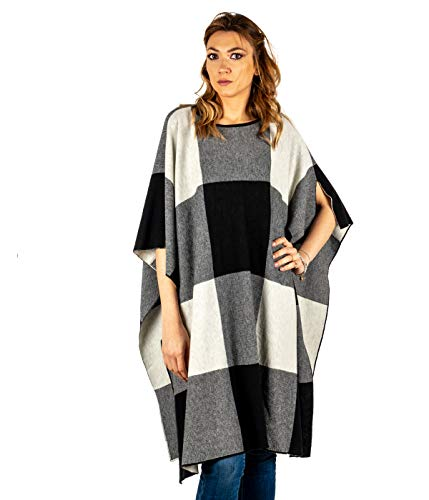 Gaia Martino poncho dames wit zwart scheerwol Made in Italy