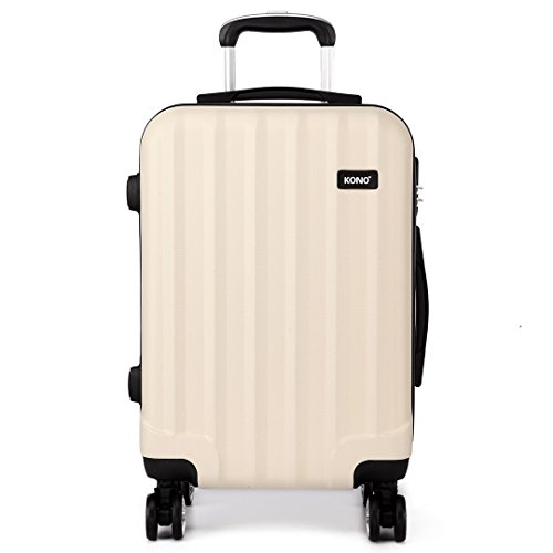 Kono 20 Inch Cabin Hand Luggage Super Lightweight ABS Suitcase 4 Wheels Spinner Luggage Vertical Strip Travel Trolley Case (Beige)