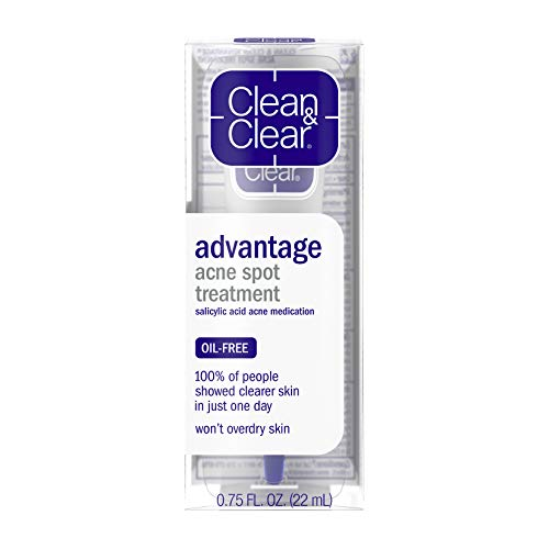 Clean & Clear Advantage Acne Spot Treatment, Oil Free Acne Treatment with Salicylic Acid, Gel Pimple Cream for Adults and Teens, Witch Hazel & Salicylic Acid Medication,.75 oz ( Pack of 2)