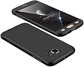 Case Samsung Galaxy S6 360 Degrees protective Cover + tempered glass film, 3 in1 Full Body protection Bumper hard phone Case Ultra-thin Skin Case,for Samsung Galaxy S6 (Black)