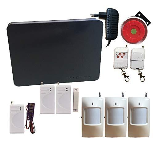 HuilingyiTech Home Security System, Smart House Office Wireless GSM SMS Security Alarmanlagen mit Tür und Fenster Sensor Bewegungsmelder verdrahtete Sirene 2 Fernbedienung