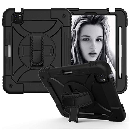 Case for iPad Air 4 10.9 2020, Case for iPad Pro 11 inch, Shockproof High Performance Kids Case with Pen Holder, Hand Strap, Stand, Shoulder Strap, Black