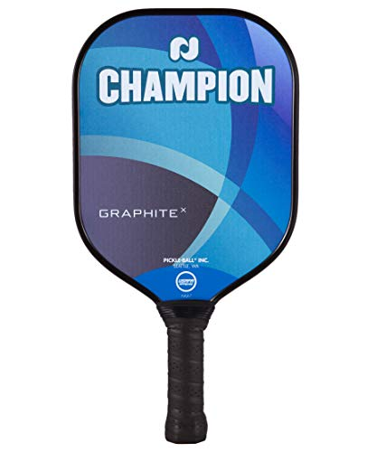 Pickleball, Inc. Champion Graphite X Pickleball Paddle | X Widebody Traditional Forgiving Shape | Standard Grip | Polymer Honeycomb Core and Graphite Face | Blue
