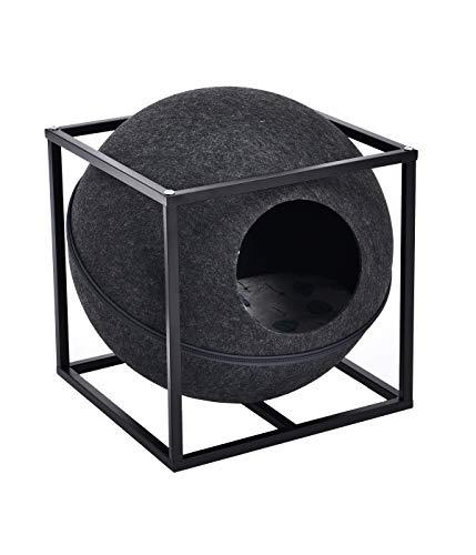 Dehner Hunde- und Katzen-Kuschelhöhle Dream Team Funny Ball, ca. 47 x 38 x 38 cm, Metall/Polyester/Filz, dunkelgrau