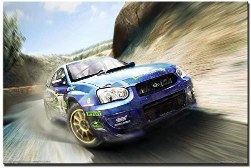 Luck7 Lienzos De Fotos 23.6'x35.4'(60x90cm) Subaru Racing Car Colin McRae Rally para decoración del hogar Sin Marco
