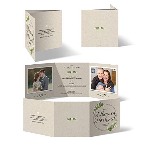 30 x Hochzeitseinladungen Silberhochzeit silberne Hochzeit Einladung individuell - Altsilber