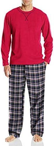 IZOD Mens Yarn-dye Flannel Pant and Microfleece Crew Top Pajama Set
