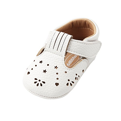 Bebé niñas PU Zapatillas Infantil Verano Hueco Mary Jane Zapatos Primeros Pasos,Blanco,6-12 Meses