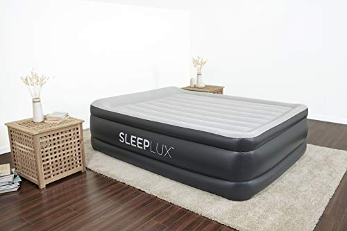 SleepLux Queen Air Mattress with Built-in AC Pump | 22' Raised Inflatable Airbed | Includes Built-in Pillow and USB Charge Port | Best Back and Shoulder Support | Durable Tritech Material